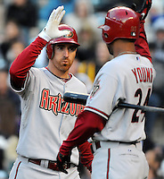 26 April 2010: Arizona Diamondbacks first baseman Adam LaRoche celebrates a 3-run homerun with teamate center fielder Chris Young (24) in the first inning during a regular season Major League Baseball game between the Colorado Rockies and the Arizona Diamondbacks at Coors Field in Denver, Colorado. The Diamondbacks beat the Rockies 5-3. *****For Editorial Use Only*****
