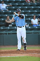 Hickory Crawdads Sam Huff (24) prepares to bat during a game with the Asheville Tourists at L.P. Frans Stadium on May 8, 2019 in Hickory, North Carolina.The Tourists defeated the Crawdads 7-6. (Tracy Proffitt/Four Seam Images)