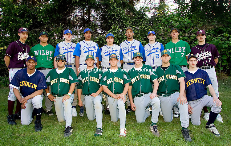 WATERBURY, CT--24 MAY 2006 -052406JS13-Members of the All-City baseball team front row, from left, Bobby Wilcher-Kennedy; Vin Ganz-Holy Cross; Andrew Rocco-Holy Cross; Matt Rocco-Holy Cross; Tyler King-Holy Cross; Steve Bainer-Holy Cross and Tim McCarthy. Back row, from left, Bobby George-Sacred Heart; Randy Insero-Wilby; Dan McKenna-Crosby; Suriel Vargas-Crosby; Billy Finlay-Crosby, Jordan Montgomery-Crosby; Brad DeVito-Crosby, Rob Geraci-Wilby and Kyle Roque. -- Jim Shannon Republican-American
