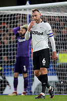 Derby County captain, Richard Keogh's reaction after conceding an own goal during Chelsea vs Derby County, Caraboa Cup Football at Stamford Bridge on 31st October 2018