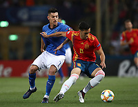 Football: Uefa European under 21 Championship 2019, Italy - Spain Renato Dall'Ara stadium Bologna Italy on June16, 2019.<br /> Spain's Mikel Merino (r) in action with Italy's Lorenzo Pellegrini (l) during the Uefa European under 21 Championship 2019 football match between Italy and Spain at Renato Dall'Ara stadium in Bologna, Italy on June16, 2019.<br /> UPDATE IMAGES PRESS/Isabella Bonotto