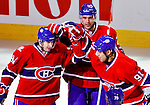 10 February 2010: Montreal Canadiens celebrate the game opening goal against the Washington Capitals at the Bell Centre in Montreal, Quebec, Canada. The Canadiens defeated the Capitals 6-5 in sudden death overtime, ending Washington's team-record winning streak at 14 games. Mandatory Credit: Ed Wolfstein Photo