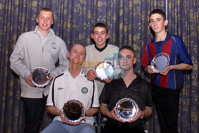 Front Padge Johnston Newfield, darragh Green Hacksballscross, Back, Donal Murphy Grangebellew, mark Hoey Smithstown and Stephen Byrne Togher after receiving there awards at the Dunleer AC night in the Grove in Dunleer...Picture Fran Caffrey Newsfile.