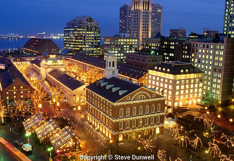 Quincy Market & Faneuil Hall, night, Boston
