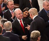 United States President Donald J. Trump speaks with Health and Human Service Secretary Tom Price before addressing a joint session of Congress on Capitol Hill in Washington, DC, February 28, 2017. <br /> Credit: Chris Kleponis / CNP
