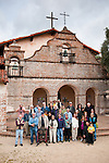 Al Weber Mission Workshop weekend two students assemble in front of Mission San Antonio de Padua, California,at the conclusion of the 3rd Al Weber Mission Portfolio Workshop, April 2011...Digital composite photo--3 men in the back added after the main group shot (they were LATE!)