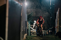 Axelle Bellaert (BEL/Donen-Vondelmolen) emerging from a dark&amp;narrow alley<br /> <br /> Women's Race<br /> Superprestige Diegem / Belgium 2017