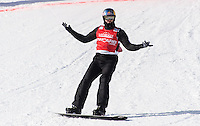 12th February 2017, Felberg, Germany; Alex Pullin from Australia cheers after crossing the finish line at the snow boarding cross World Cup in Feldberg, Germany