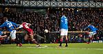 20.02.2020 Rangers v SC Braga: Ianis Hagi scoresa goal no 3 for Rangers from a free kick