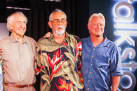 "HONOLULU, Turtle Bay Resort, North Shore, Oahu. - (Thursday, January 3, 2013) Peter Cole (USA), Kimo Hollinger (HAW) and Randy Rarick (HAW).  Greg Noll (USA) was the guest  speaker of Talk Story at Surfer The Bar tonight. Noll, nicknamed ""Da Bull"" by Phil Edwards in reference to his physique and way of ""charging"" down the face of a wave is an American pioneer of big wave surfing and is also acknowledged as a prominent longboard shaper. Noll was a member of a US lifeguard team that introduced Malibu boards to Australia around the time of the Melbourne Olympic Games. Noll became known for his exploits in large Hawaiian surf on the North Shore of Oahu. He first gained a reputation in November 1957 after surfing Waimea Bay in 25-30 ft surf when it had previously been thought impossible even to the local Hawaiians. He is perhaps best known for being the first surfer to ride a wave breaking on the outside reef at the so-called Banzai Pipeline in November 1964...It was later at Makaha, in December 1969, that he rode what many at the time believed to be the largest wave ever surfed. After that wave and the ensuing wipeout during the course of that spectacular ride down the face of a massive dark wall of water, his surfing tapered off and he closed his Hermosa Beach shop in the early 1970s. He and other surfers such as Pat Curren, Mike Stang, Buzzy Trent, George Downing, Mickey Munoz, Wally Froyseth, Fred Van Dyke and Peter Cole are viewed as the most daring surfers of their generation...Noll is readily identified in film footage while surfing by his now iconic black and white horizontally striped ""jailhouse"" boardshorts and was interviewed by host Jodi Wilmott (AUS). . Photo: joliphotos.com"