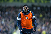 Substitute Fred Onyedinma of Millwall warms up during the Johnstone's Paint Trophy Southern Final 2nd Leg match between Oxford United and Millwall at the Kassam Stadium, Oxford, England on 2 February 2016. Photo by Andy Rowland / PRiME Media Images.