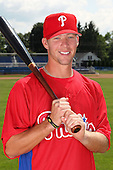 Williamsport Crosscutters infielder Jake Smith (19) poses for a photo in Phillies gear before a game vs the Batavia Muckdogs at Dwyer Stadium in Batavia, New York July 26, 2010.   Batavia defeated Williamsport 3-2.  Photo By Mike Janes/Four Seam Images