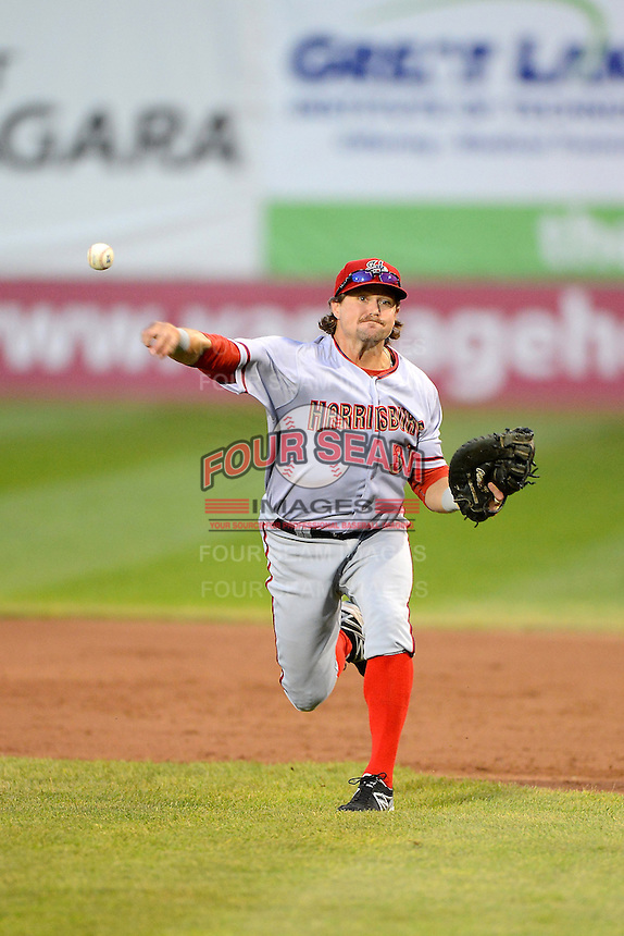 Harrisburg Senators first baseman Jerad Head #31 throws home during a game against the Erie Seawolves on July 2, 2013 at Jerry Uht Park in Erie, Pennsylvania.  Erie defeated Harrisburg 2-1.  (Mike Janes/Four Seam Images)