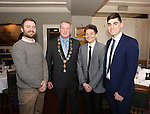 Attending the  Entrepreneur of the Year 2016 in the  Limerick Final of the National Enterprise Awards at a ceremony in the Dunraven Arms Hotel, Adare were Kevin King, Piquant Media, Cllr Liam Galvin Mayor of Limerick City and County, Zoltan Horvath,  and Jack Cunningham both Celignis. <br /> Photograph Liam Burke/Press