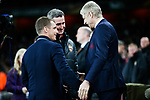 Manager of Arsenal Arsene Wenger and CSKA Moscow manager Viktor Goncharenko during the UEFA Europa League Quarter-Final 1st leg match at the Emirates Stadium, London. Picture date 5th April 2018. Picture credit should read: Charlie Forgham-Bailey/Sportimage