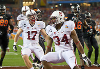 STANFORD, CA - January 2, 2012: Stanford running back Jeremy Stewart (34) celebrates his touchdown against Oklahoma State at the Fiesta Bowl at University of Phoenix Stadium in Phoenix, AZ. Final score Oklahoma State wins 41-38.