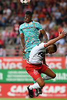 KORTRIJK , BELGIUM - AUGUST 03 : Matias Nurio of Charleroi pictured in a headerduel with Elohim Rolland of Kortrijk during the Jupiler Pro League match day 2 between Kv Kortrijk and Sporting Charleroi on August 03 , 2019 in Kortrijk , Belgium . ( Photo by David Catry / Isosport )
