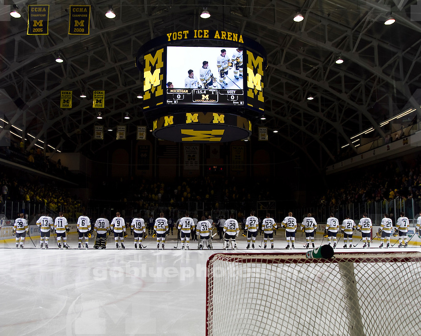 The University of Michigan men's hockey lost an exhibition game 3-2 to the University of Ontario Institute of Technology at Yost Arena in Ann Arbor, Mich., on October 1, 2011.