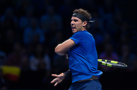 Rafael Nadal of Spain (1) during his defeat to David Goffin of Belgium (7) in their Group Pete Sampras Match today - Goffin def Nadal 7-6, 6-7, 6-4<br /> <br /> Photographer Ashley Western/CameraSport<br /> <br /> International Tennis - Nitto ATP World Tour Finals - O2 Arena - London - Day 2  - Monday 13th November 2017<br /> <br /> World Copyright &not;&copy; 2017 CameraSport. All rights reserved. 43 Linden Ave. Countesthorpe. Leicester. England. LE8 5PG - Tel: +44 (0) 116 277 4147 - admin@camerasport.com - www.camerasport.com