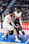 Real Madrid's player Rudy Fernandez and Thompkins and Barcelona's player Lawal during Liga Endesa 2015/2016 Finals 4th leg match at Barclaycard Center in Madrid. June 20, 2016. (ALTERPHOTOS/BorjaB.Hojas)