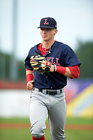 Lowell Spinners second baseman Brett Netzer (18) jogs to the dugout during a game against the Batavia Muckdogs on July 12, 2017 at Dwyer Stadium in Batavia, New York.  Batavia defeated Lowell 7-2.  (Mike Janes/Four Seam Images)