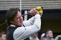 Joel Murray, American, actor, lead role, movie, God Bless America, competitor,Irish Open Pro-Am. Brother of film actor & comic, Bill Murray. 201216270302..Photo taken 27th June 2012 on the first tee, Pro-Am competition, Irish Open Championship, Royal Portrush Golf Club, N Ireland...© Victor Patterson, 54 Dorchester Park, Belfast, N Ireland. Tel: +44 2890661296; Mobile: +44 7802 353836; Emails: victorpatterson@me.com & victorpatterson@gmail.com; www.victorpatterson.com
