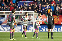German (defender; Granada CF) receives a yellow card from the Referee during the Spanish football of La Liga 123, match between CA Osasuna and  Granada CF at the Sadar stadium, in Pamplona (Navarra), Spain, on Sunday, February 3, 2019.