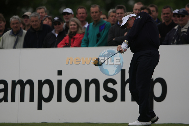 Colin Montgomerie (SCO) tees off on the 1st tee to start his round on Day 2 of the BMW PGA Championship Championship at, Wentworth Club, Surrey, England, 27th May 2011. (Photo Eoin Clarke/Golffile 2011)