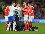 Gareth Bale of Wales and Branislav Ivanovic of Serbia during the FIFA World Cup Qualifying match at the Cardiff City Stadium, Cardiff. Picture date: November 12th, 2016. Pic Robin Parker/Sportimage