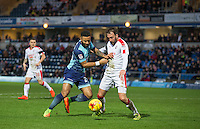 Alex Jakubiak of Wycombe Wanderers battles Josh Payne of Crawley Town during the Sky Bet League 2 match between Wycombe Wanderers and Crawley Town at Adams Park, High Wycombe, England on 25 February 2017. Photo by Andy Rowland / PRiME Media Images.