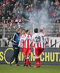 10.02.2018, Stadion an der Wuhlheide, Berlin, GER, 2.FBL, 1.FC UNION BERLIN  VS. Fortuna Duesseldorf, <br /> im Bild <br /> Christopher Trimmel (1.FC Union Berlin #28), Stephan Fuerstner (1.FC Union Berlin #8), Michael Parensen (1.FC Union Berlin #29), Kristian Pedersen (1.FC Union Berlin #6)<br /> <br />      <br /> Foto &copy; nordphoto / Engler
