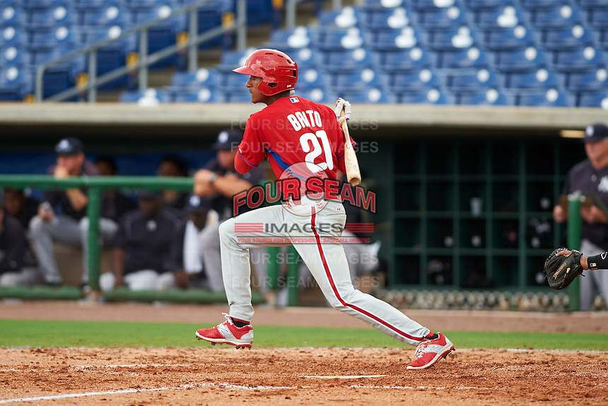 Philadelphia Phillies Daniel Brito (21) during an instructional league game against the New York Yankees on September 29, 2015 at Brighthouse Field in Clearwater, Florida.  (Mike Janes/Four Seam Images)