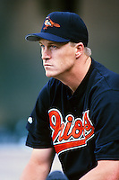 Mike Timlin of the Baltimore Orioles during a game against the Anaheim Angels at Angel Stadium circa 1999 in Anaheim, California. (Larry Goren/Four Seam Images)