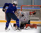 Derek Stepan (USA - 21), Mike Lee (USA - 30) - Team USA practiced at the Agriplace rink on Monday, December 28, 2009, in Saskatoon, Saskatchewan, during the 2010 World Juniors tournament.