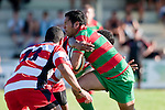 Waiuku fullback Ray Taupo charges into the Karaka defenders. Counties Manukau Premier Club Rugby game bewtween Waiuk & Karaka played at Waiuku on Saturday April 11th, 2010..Karaka won the game 24 - 22 after leading 21 - 9 at halftime.