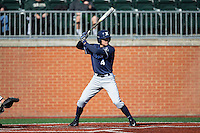 Conor Grammes (4) of the Xavier Musketeers at bat against the Charlotte 49ers at Hayes Stadium on March 3, 2017 in Charlotte, North Carolina.  The 49ers defeated the Musketeers 2-1.  (Brian Westerholt/Four Seam Images)