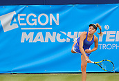 June 13th 2017, The Northern Lawn tennis Club, Manchester, England; ITF Womens tennis tournament; Katie Swan (GBR) serves during her first round singles match against Katy Dunne (GBR); Dunne won in three sets