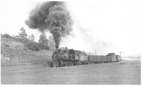 RGS #42 with gondolas, caboose and tender near Pine Ridge.  The tender is from D&amp;RGW #452.<br /> RGS  Pine Ridge, CO  Taken by Richardson, Robert W. - 9/11/1952