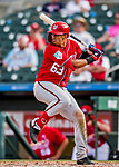 24 February 2019: Washington Nationals top prospect infielder Luis Garcia at bat during a Spring Training game against the St. Louis Cardinals at Roger Dean Stadium in Jupiter, Florida. The Nationals defeated the Cardinals 12-2 in Grapefruit League play. Mandatory Credit: Ed Wolfstein Photo *** RAW (NEF) Image File Available ***