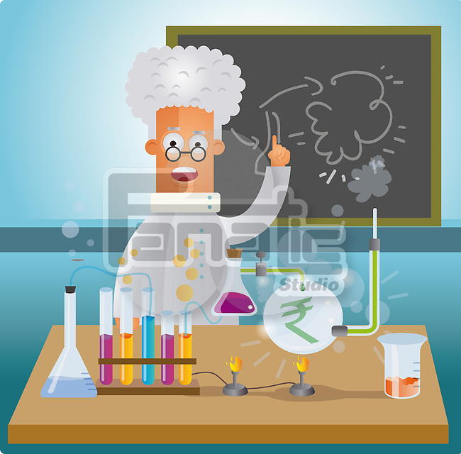 Illustrative representation of a man doing money research in a laboratory