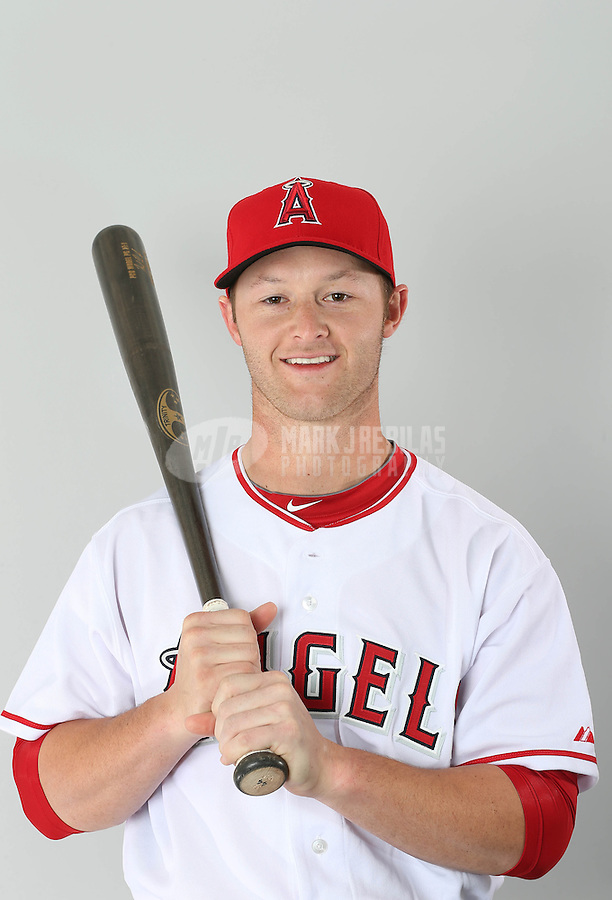 Feb. 21, 2113; Tempe, AZ, USA: Los Angeles Angels catcher Zach Wright poses for a portrait during photo day at Tempe Diablo Stadium. Mandatory Credit: Mark J. Rebilas-