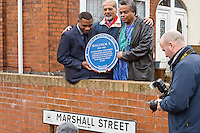 Got royally pissed off with the woman who kept getting in the way of my lens screwing my nameplate shot and also that other tog thereMalcom X, Marshall Street, Smethwick, Blue Plaque unveiling
