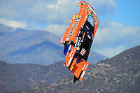 Nov. 10, 2012; Pomona, CA, USA: The body from the car of NHRA funny car driver Todd Lesenko flies through the air after an explosion during qualifying for the Auto Club Finals at at Auto Club Raceway at Pomona. Lesenko would be uninjured. Mandatory Credit: Mark J. Rebilas-