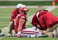 Hawgs Illustrated/BEN GOFF <br /> Trainers tend to Ricky Stromberg, Arkansas offensive lineman, after an injury in the first quarter vs Missouri Saturday, Nov. 29, 2019, at War Memorial Stadium in Little Rock.