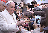 Pope Francis during his pastoral visit to the parish of St. Joseph in all'Aurelio Rome.December 14, 2014