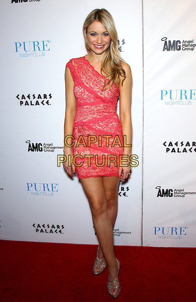 Katrina Bowden.hosts a night at Pure Nightclub inside Caesars Palace Las Vegas, Las Vegas, Nevada, USA, 30th March 2012..full length red lace dress  one shoulder silver sandals .CAP/ADM/MJT.© MJT/AdMedia/Capital Pictures.