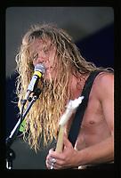 James Hetfield of Metallica performing at the Iowa Jam in Iowa. May 26, 1986. CAP/MPI/GA<br /> &copy;GA/MPI/Capital Pictures