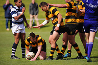 Josh Perrett scores for Taranaki during the rugby match between Taranaki and Auckland Development in the Jack Hobbs Memorial Under-19 Rugby Tournament at Owen Delaney Park in Taupo, New Zealand on Wednesday, 13 September 2012. Photo: Dave Lintott / lintottphoto.co.nz