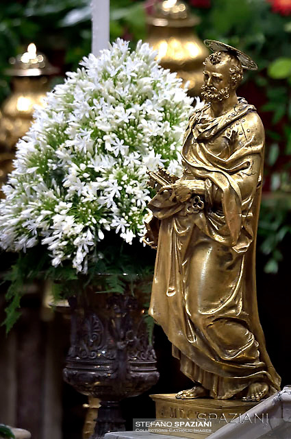 statue Saint St Peter Basilica St Peter at the Vatican;Peter;Pope Francis solemnity of Saints Peter and Paul at St Peter's basilica in Vatican.June 29,2016