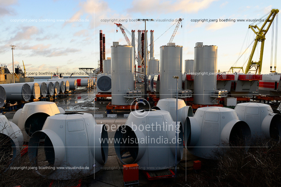 GERMANY, Mukran, loading terminal for Areva AD 5-135 350MW wind turbines for the IBERDROLA offshore windfarm Wikinger in the baltic sea / DEUTSCHLAND, Mukran auf der Insel Ruegen, Verladeterminal fuer Areva AD 5-135 35 MW Windkraftanlagen fuer den IBERDROLA offshore Windpark Wikinger in der Ostsee